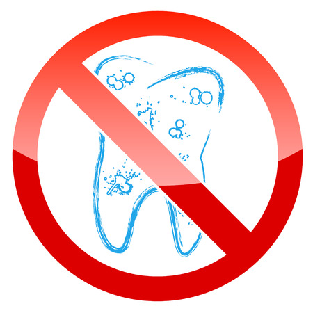 deterioration: The symbol of the tooth with caries in a grunge style