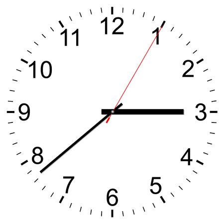 office clock: Icono del vector del reloj sobre un fondo blanco Vectores