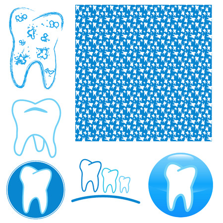 Icon set of teeth on a white background Stock Vector - 22387803