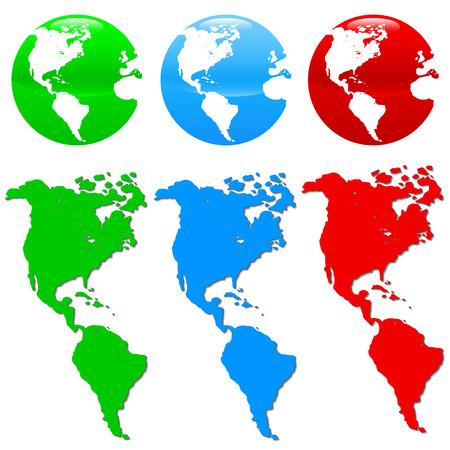 globus: Colorful earth icon set isolated on white background Illustration