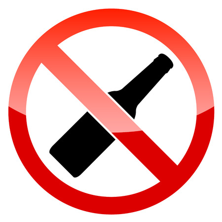 strikethrough: No alcohol vector sign on a white background