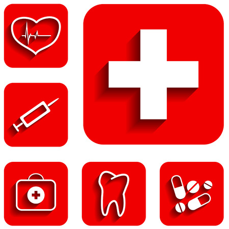 New medicine red icons set. Vector illustration Vector