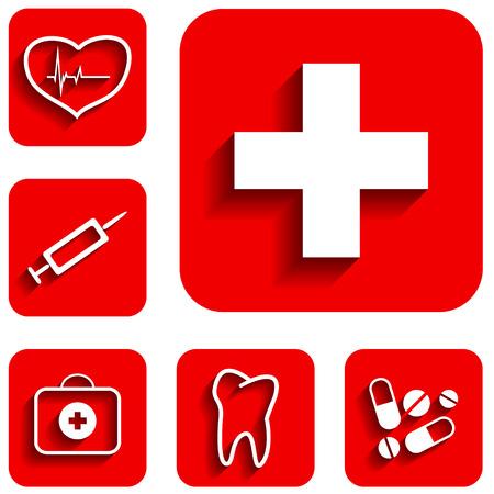 new medicine: New medicine red icons set. Vector illustration Illustration