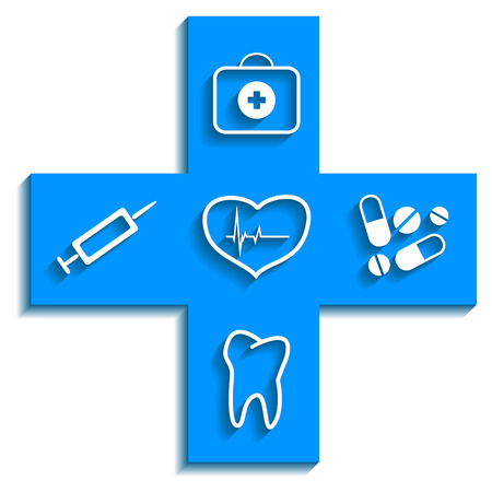Medicine blue logo on a white background. Vector illustration Stock Vector - 23283768