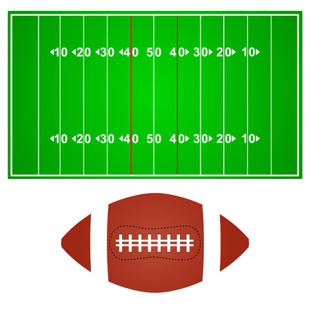nfl helmet: American football field with ball on a white background