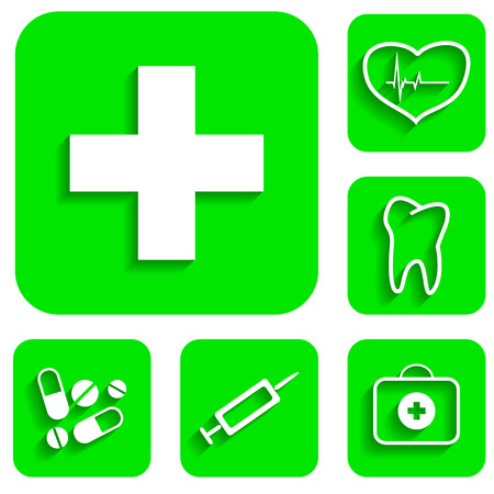 New medicine green icons set illustration Stock Vector - 23304871