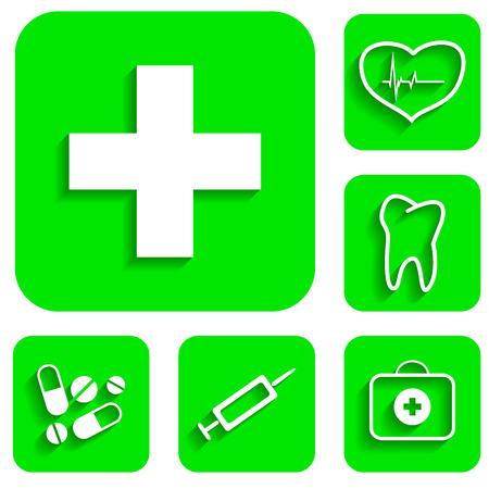 new medicine: New medicine green icons set illustration Illustration