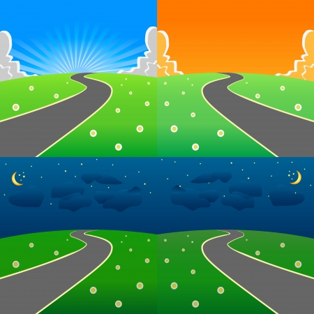Day and night scene on the fresh meadow Vector