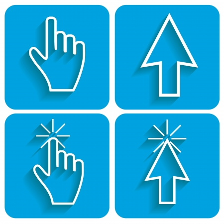 Blue set of cursors for every taste. Vector illustration Vector