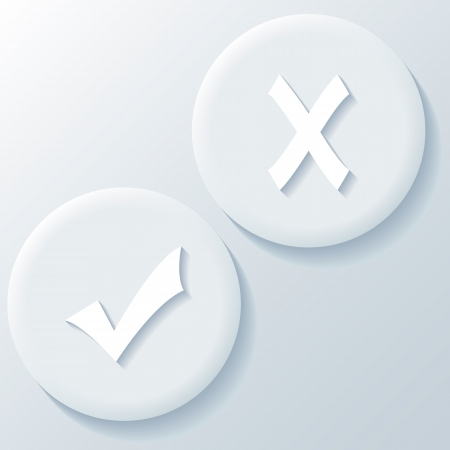 Yes No 3D Paper Icons on a white background Vector