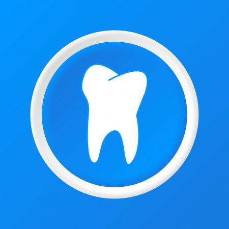 Tooth 3D Paper Icon on a blue background Stock Vector - 23711544