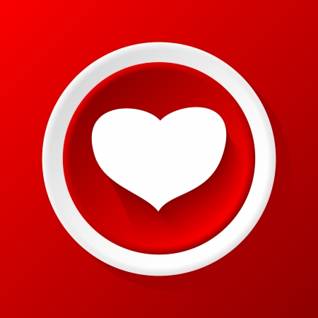 Love 3D Paper Icon on a red background Vector