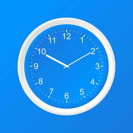 Clock 3D Paper Icon on a blue background Vector
