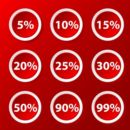 off balance: Red set of icons with percent for your design