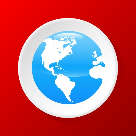 globus: New 3d Globe icon On A Red Background