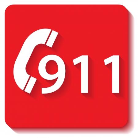 911 icône d'urgence sur un fond blanc Banque d'images - 24003292
