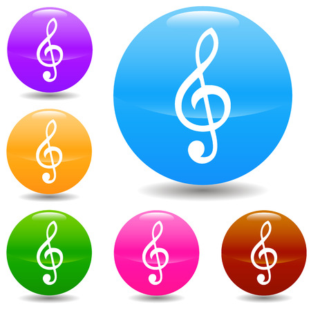 musically: Clef buttons set in various colors. Vector illustration