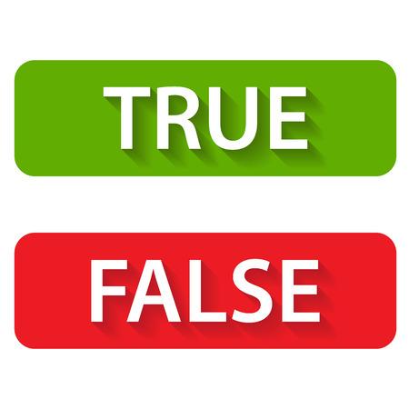 Icônes vraies et fausses sur un fond blanc Vecteurs