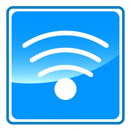 wlan: New blue wifi button on a white background