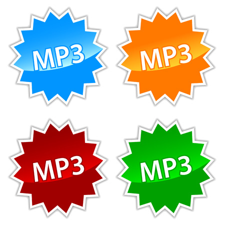 uncompressed: New mp3 icons set on a white background. Vector illustration