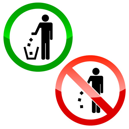 refuse bin: No littering triangle signs on a white background Illustration