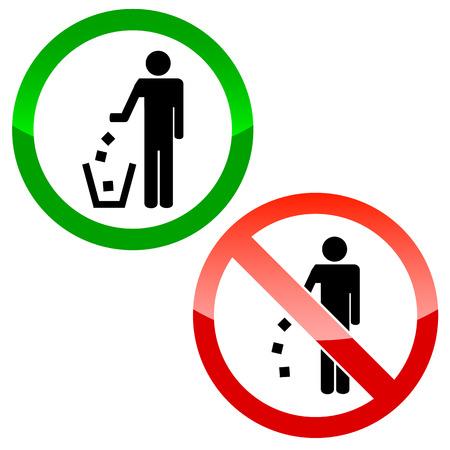 No tirar basura triángulo signos sobre un fondo blanco Foto de archivo - 24092879
