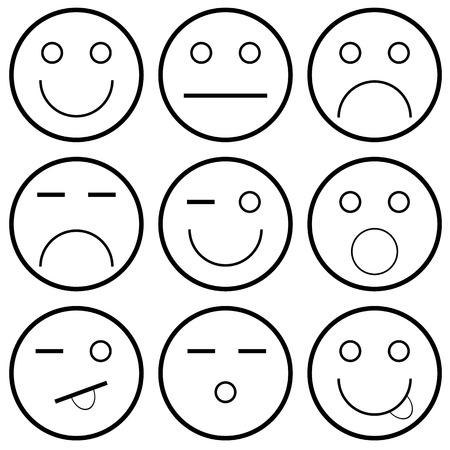 happy sad: Icone vettoriali di faccine su sfondo bianco illustrazione vettoriale Vettoriali