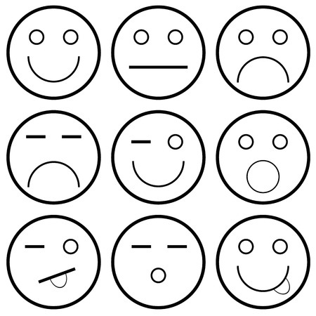 Vector icons of smiley faces on a white background  Vector illustration