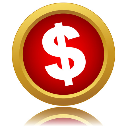 Red dollar icon on a white background. Vector illustration