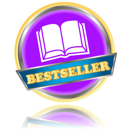 Purple bestseller icon on a white background Illustration