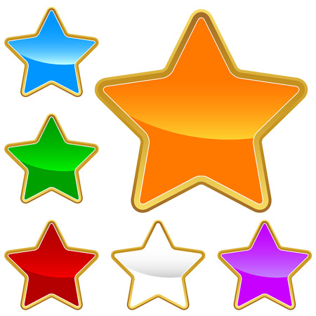 Big set of stars on a white background Vector