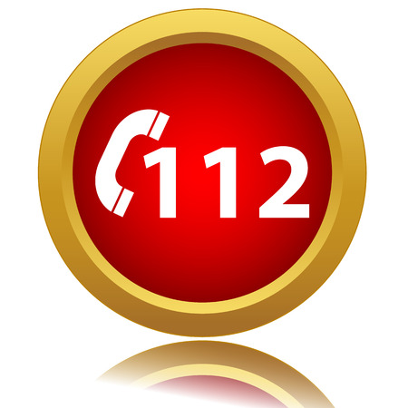 112 red icon on a white background