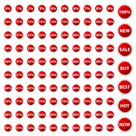 Big red set of icons with percent for your design Stock Vector - 24505562