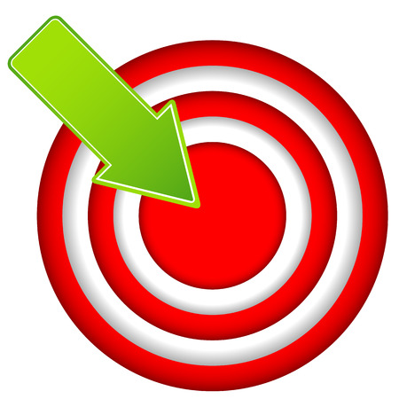 Red target icon with drop shadow in circular design Stock Vector - 24505577