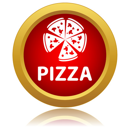 culinary arts: Red pizza icon on a white background