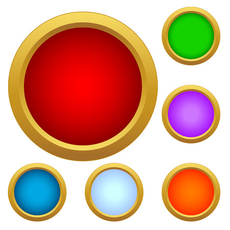 Set of multicolored glass buttons on a white background Vector