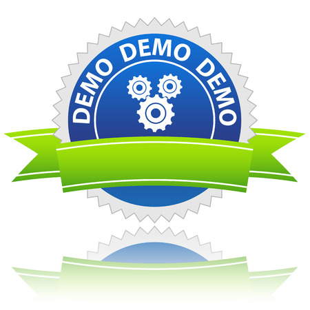 preview: New blue demo sign on a white background Illustration