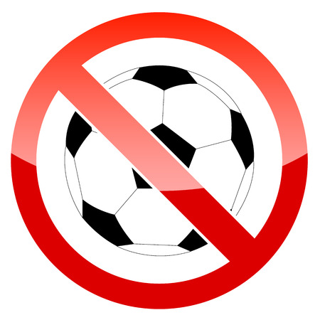 Sign prohibiting a football on a white background