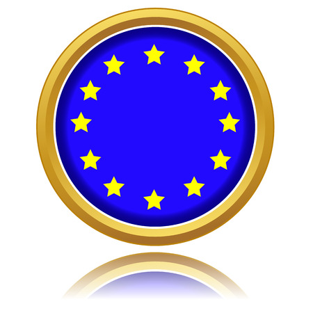 Euro flag button isolated on white. Vector illustration Vector