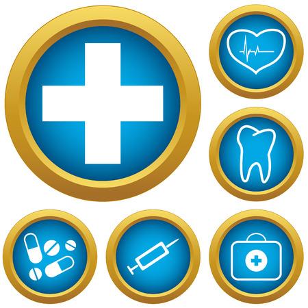new medicine: New medicine green icons set. illustration
