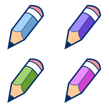 Colored pencils on a white background. Vector illustration Vector