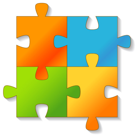 jig saw puzzle: Jigsaw Puzzle on a white background. Vector illustration
