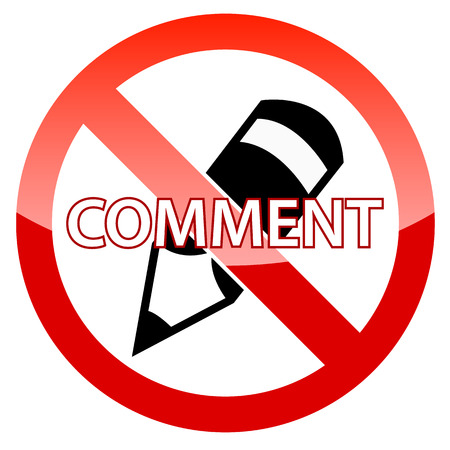 komentář: No Comment ikona na bílém pozadí Ilustrace