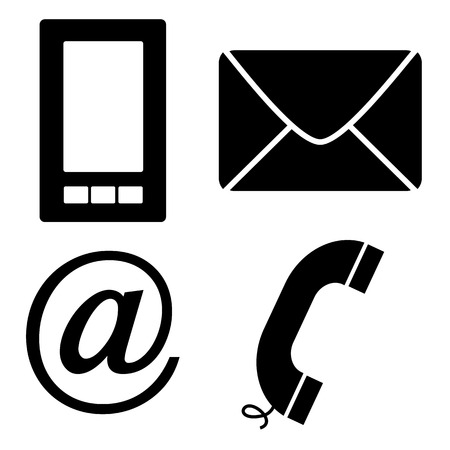 Black vector contact icons on a white background Illustration