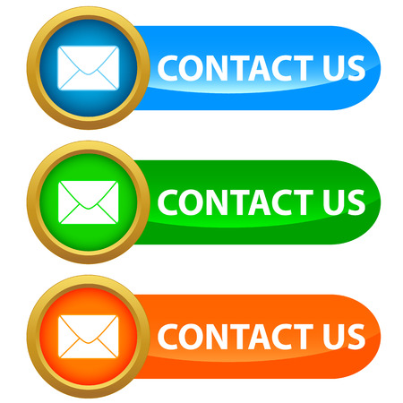 Set of contact us buttons - blue, green and orange. Vector illustration Vector