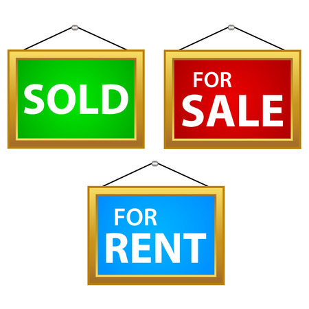 Property Sale, Rent and Sold Signs on a white background Vector