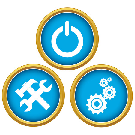 Blue repairs icons set on a white background Illustration