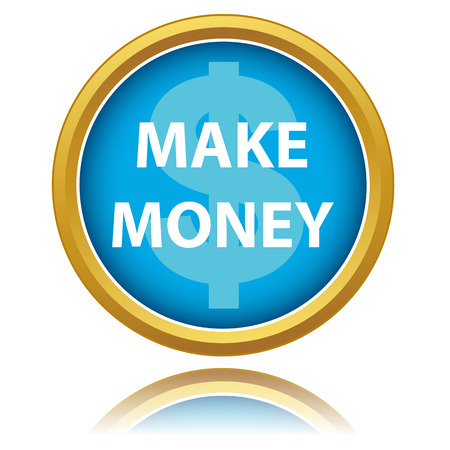 Make money button isolated white background. Vector illustration Vector