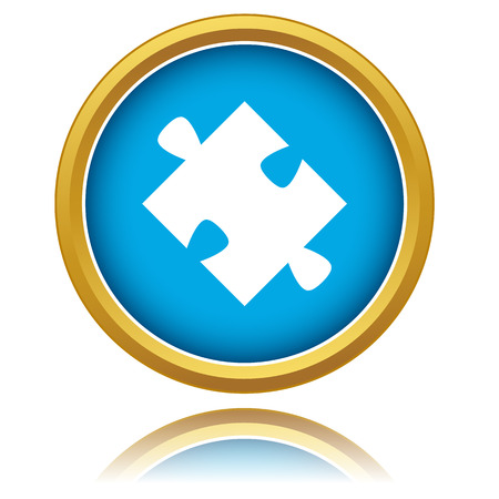 New blue puzzle icon on a white background Vector