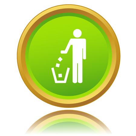 botar basura: Nueva ninguna se�al tirar basura sobre un fondo blanco